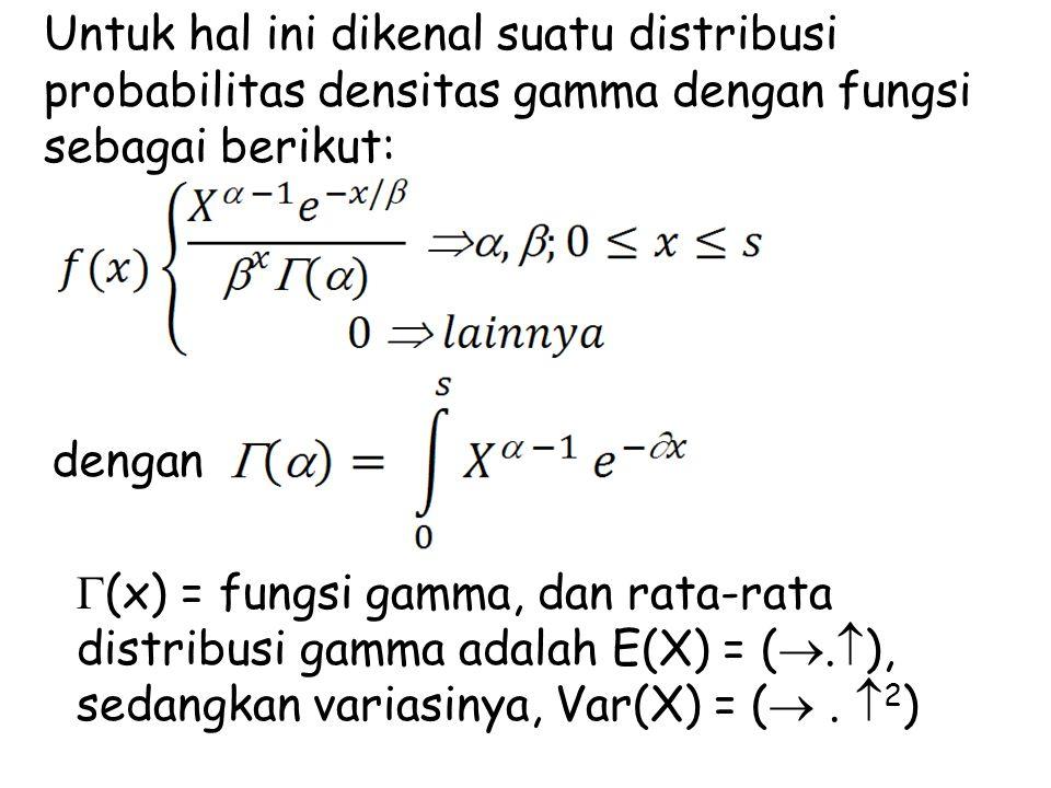 Untuk hal ini dikenal suatu distribusi probabilitas densitas gamma dengan fungsi sebagai berikut: