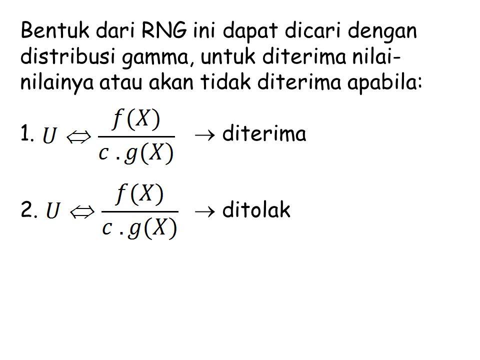 Bentuk dari RNG ini dapat dicari dengan distribusi gamma, untuk diterima nilai-nilainya atau akan tidak diterima apabila:
