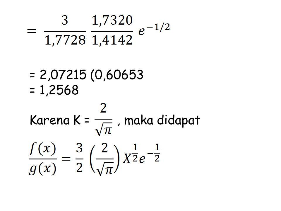 = 2,07215 (0,60653 = 1,2568 Karena K = , maka didapat