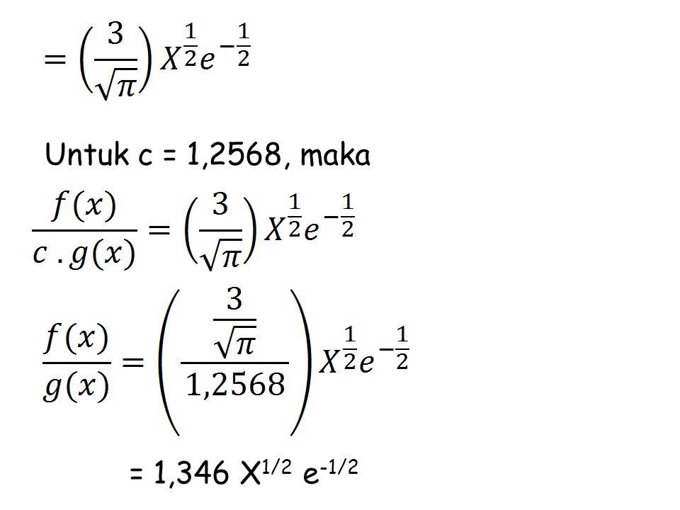 Untuk c = 1,2568, maka = 1,346 X1/2 e-1/2