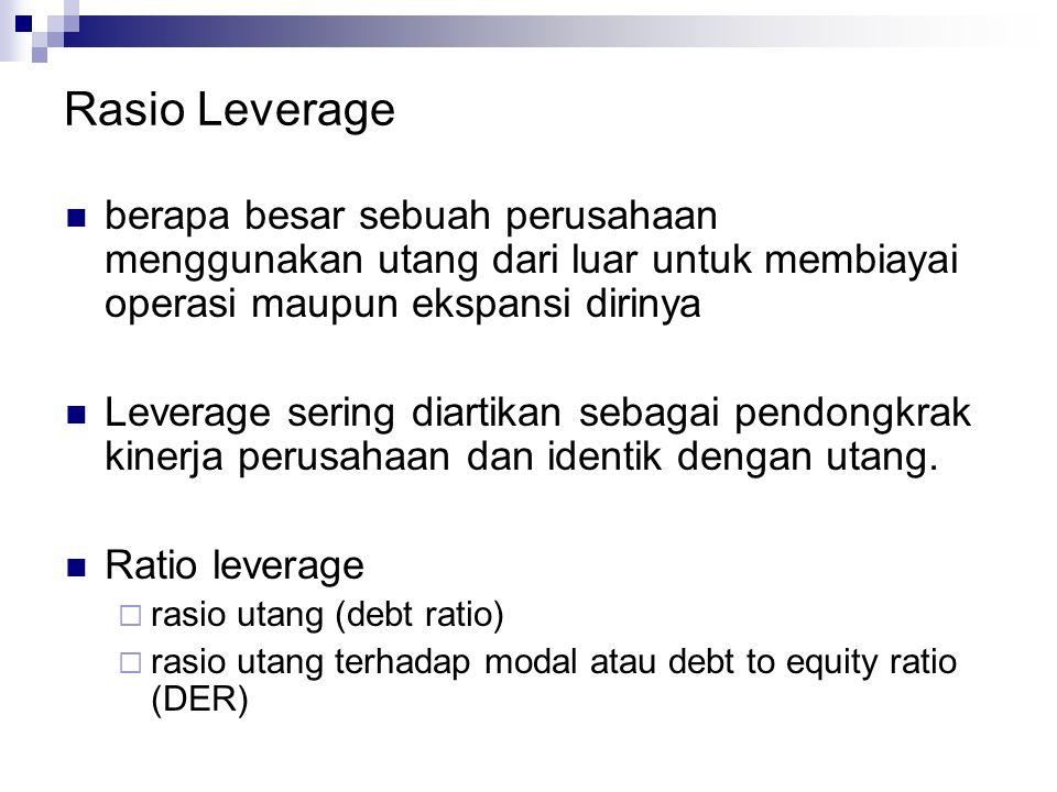 Rasio Leverage berapa besar sebuah perusahaan menggunakan utang dari luar untuk membiayai operasi maupun ekspansi dirinya.
