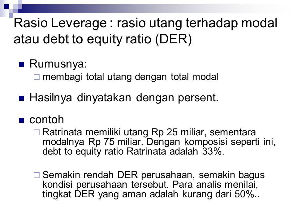 Rasio Leverage : rasio utang terhadap modal atau debt to equity ratio (DER)