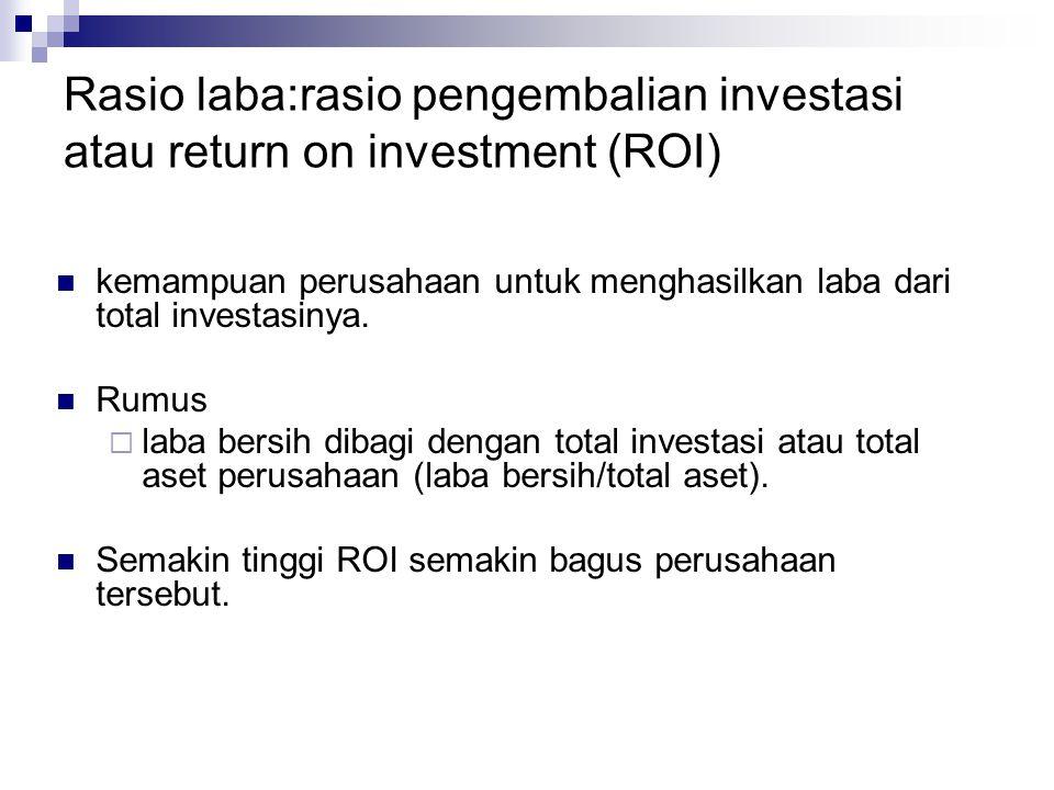 Rasio laba:rasio pengembalian investasi atau return on investment (ROI)