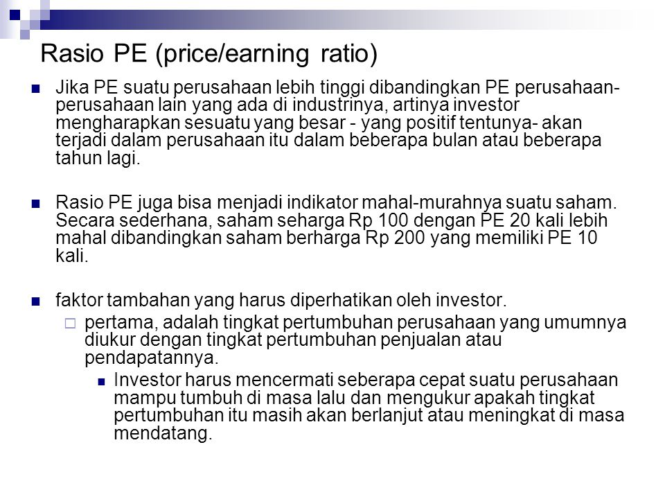 Rasio PE (price/earning ratio)