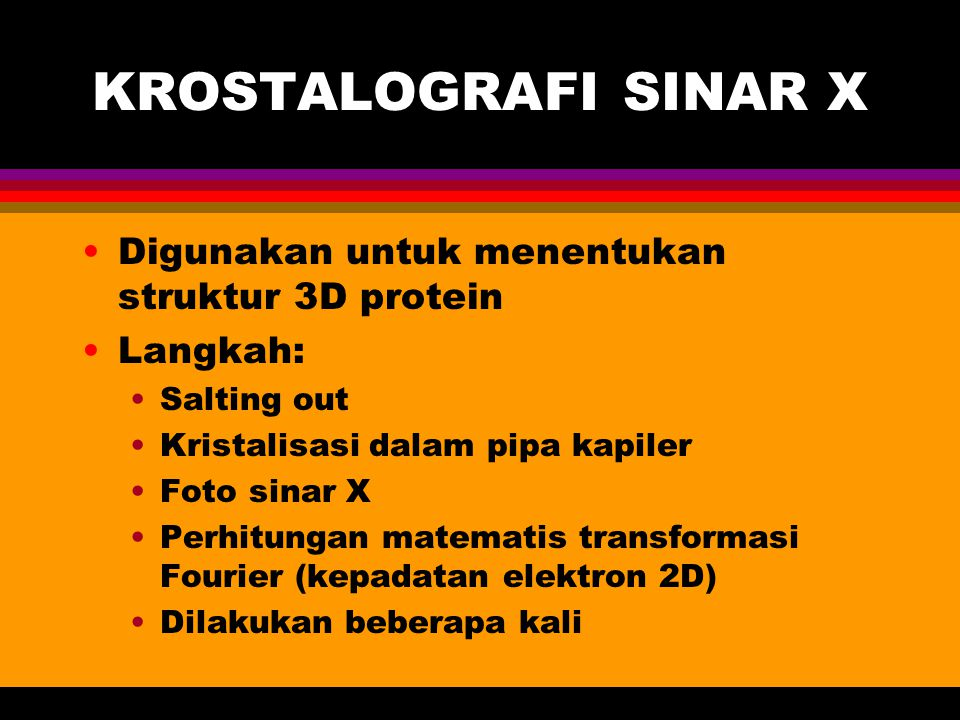 KROSTALOGRAFI SINAR X Digunakan untuk menentukan struktur 3D protein