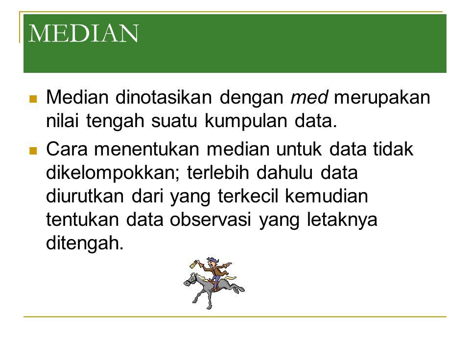 MEDIAN Median dinotasikan dengan med merupakan nilai tengah suatu kumpulan data.