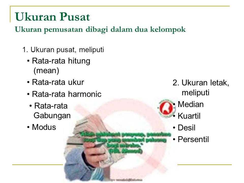 Ukuran Pusat Ukuran pemusatan dibagi dalam dua kelompok