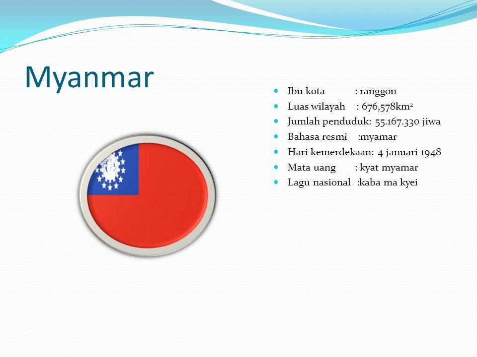 Myanmar Ibu kota : ranggon Luas wilayah : 676,578km2
