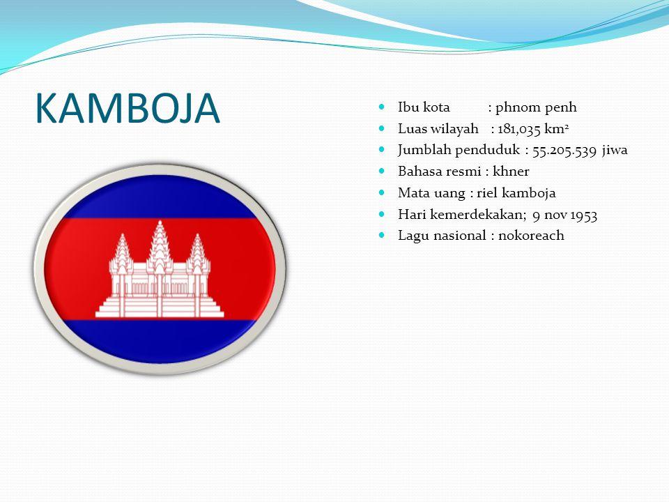 KAMBOJA Ibu kota : phnom penh Luas wilayah : 181,035 km2