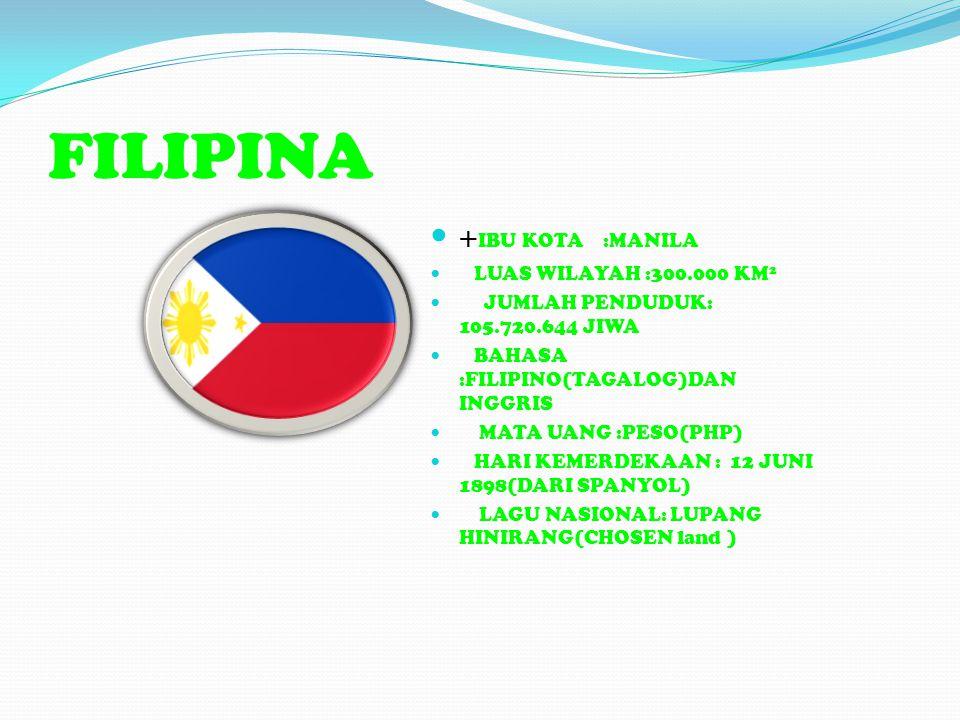 FILIPINA +IBU KOTA :MANILA LUAS WILAYAH :300.000 KM2