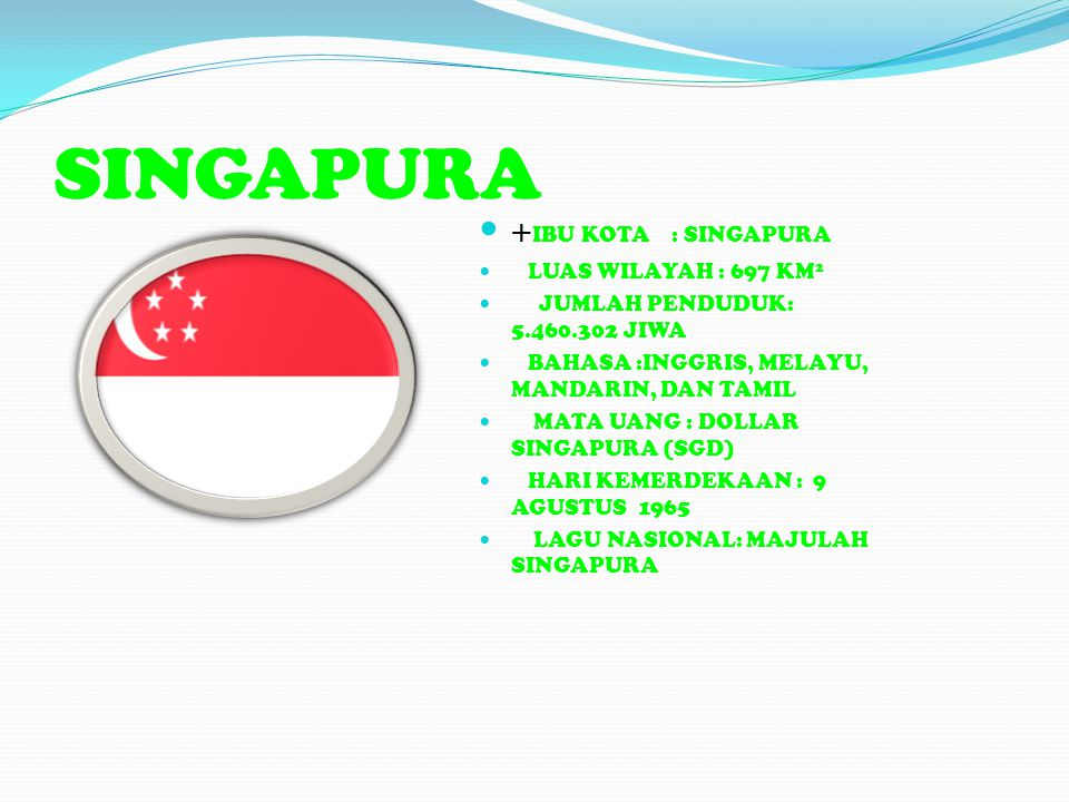 SINGAPURA +IBU KOTA : SINGAPURA LUAS WILAYAH : 697 KM2