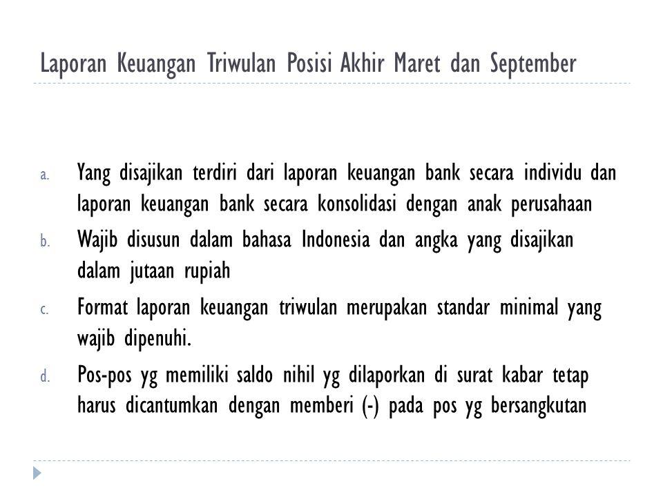 Laporan Keuangan Triwulan Posisi Akhir Maret dan September