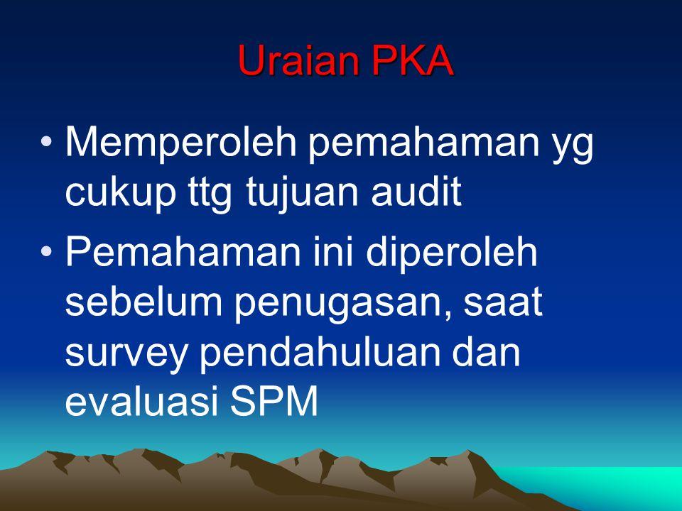 Uraian PKA Memperoleh pemahaman yg cukup ttg tujuan audit.