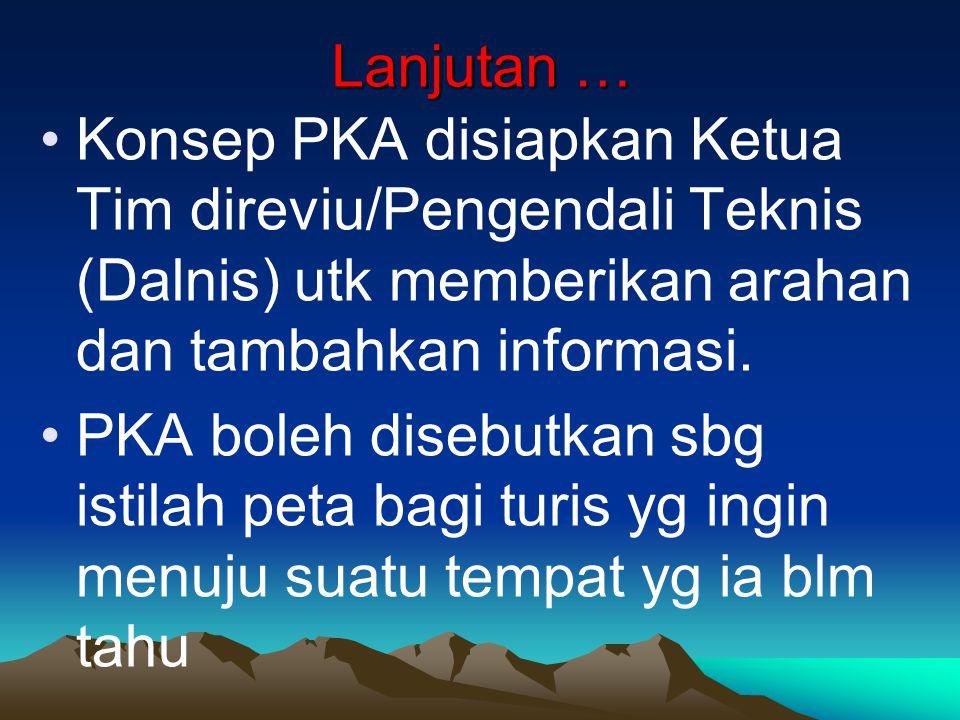 Lanjutan … Konsep PKA disiapkan Ketua Tim direviu/Pengendali Teknis (Dalnis) utk memberikan arahan dan tambahkan informasi.