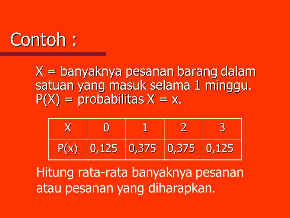 Contoh : X = banyaknya pesanan barang dalam satuan yang masuk selama 1 minggu. P(X) = probabilitas X = x.
