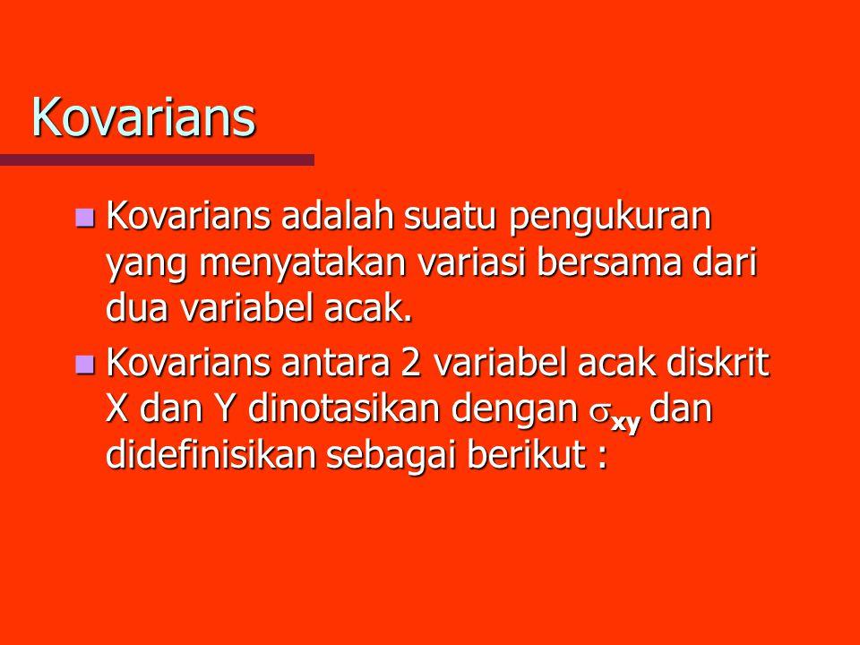 Kovarians Kovarians adalah suatu pengukuran yang menyatakan variasi bersama dari dua variabel acak.