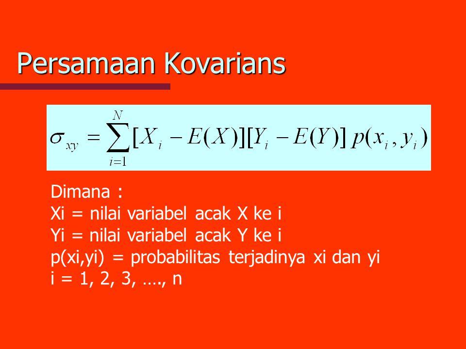 Persamaan Kovarians Dimana : Xi = nilai variabel acak X ke i