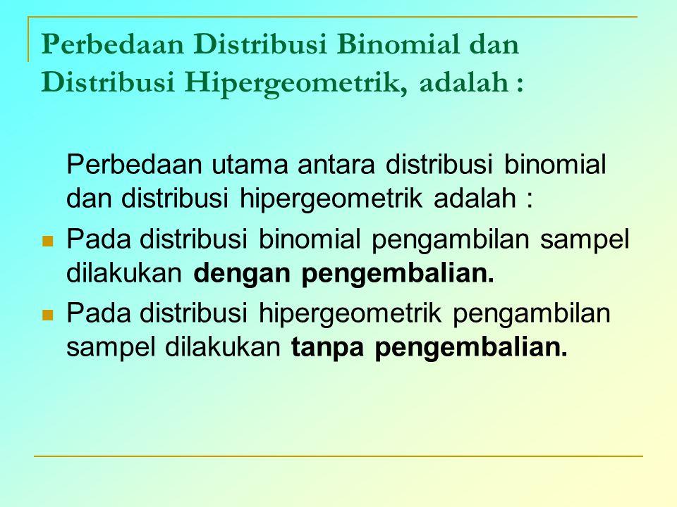 Perbedaan Distribusi Binomial dan Distribusi Hipergeometrik, adalah :