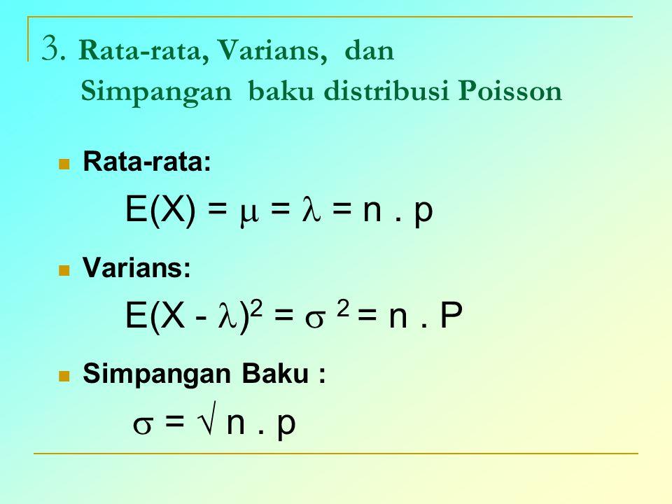 3. Rata-rata, Varians, dan Simpangan baku distribusi Poisson