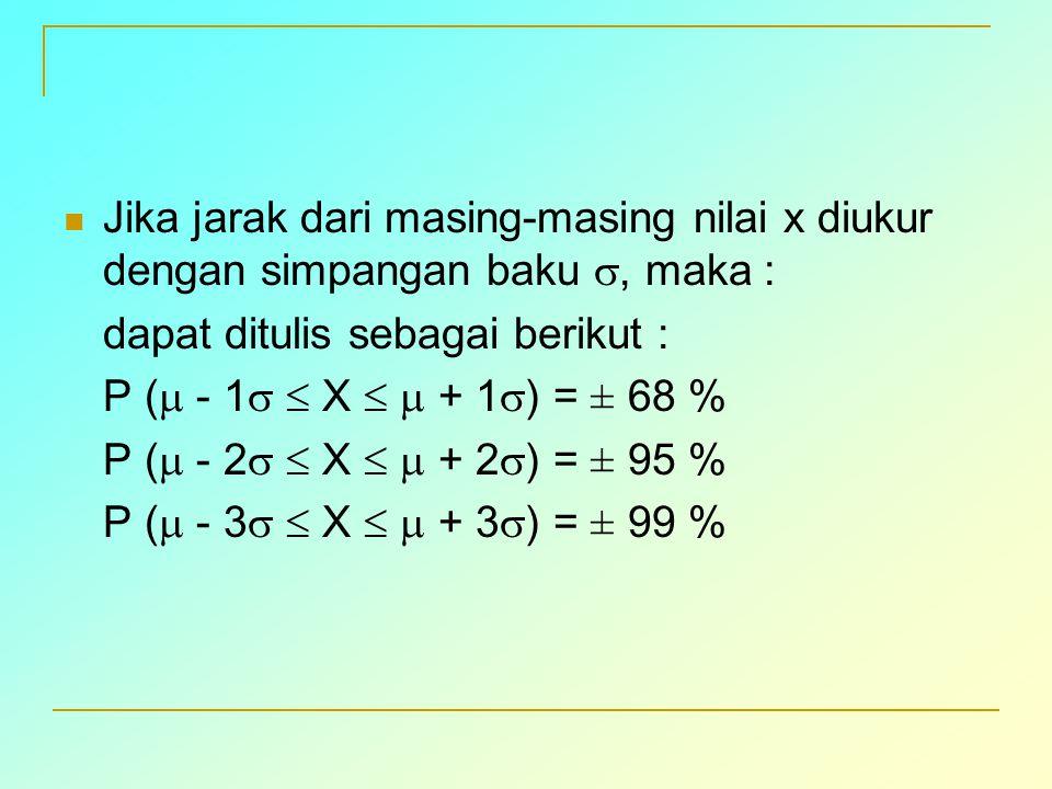 Jika jarak dari masing-masing nilai x diukur dengan simpangan baku , maka :