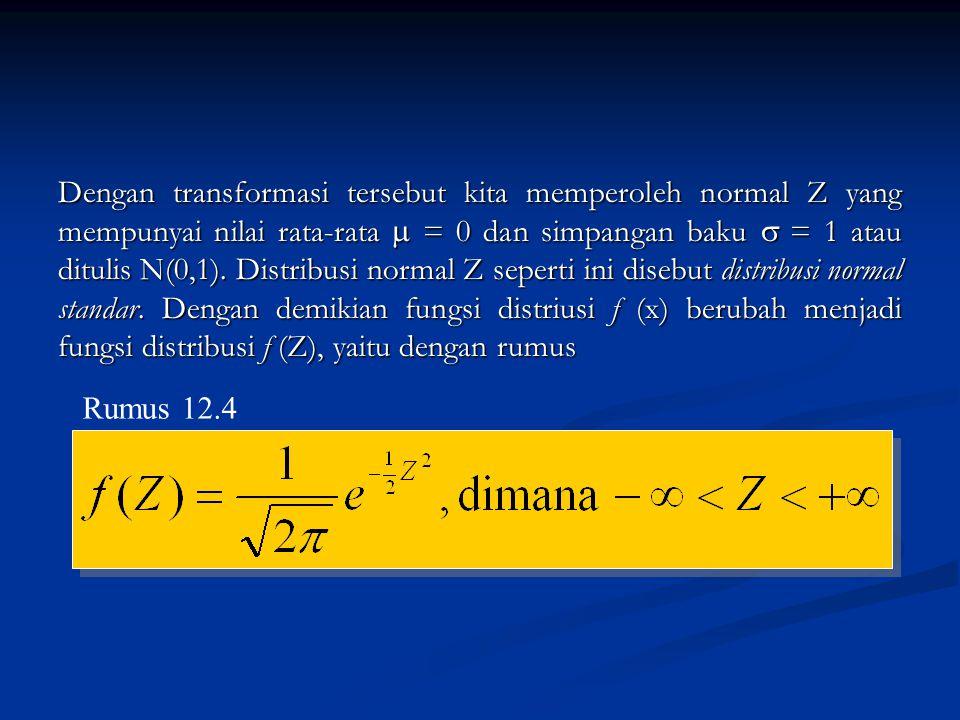 Dengan transformasi tersebut kita memperoleh normal Z yang mempunyai nilai rata-rata  = 0 dan simpangan baku  = 1 atau ditulis N(0,1). Distribusi normal Z seperti ini disebut distribusi normal standar. Dengan demikian fungsi distriusi f (x) berubah menjadi fungsi distribusi f (Z), yaitu dengan rumus