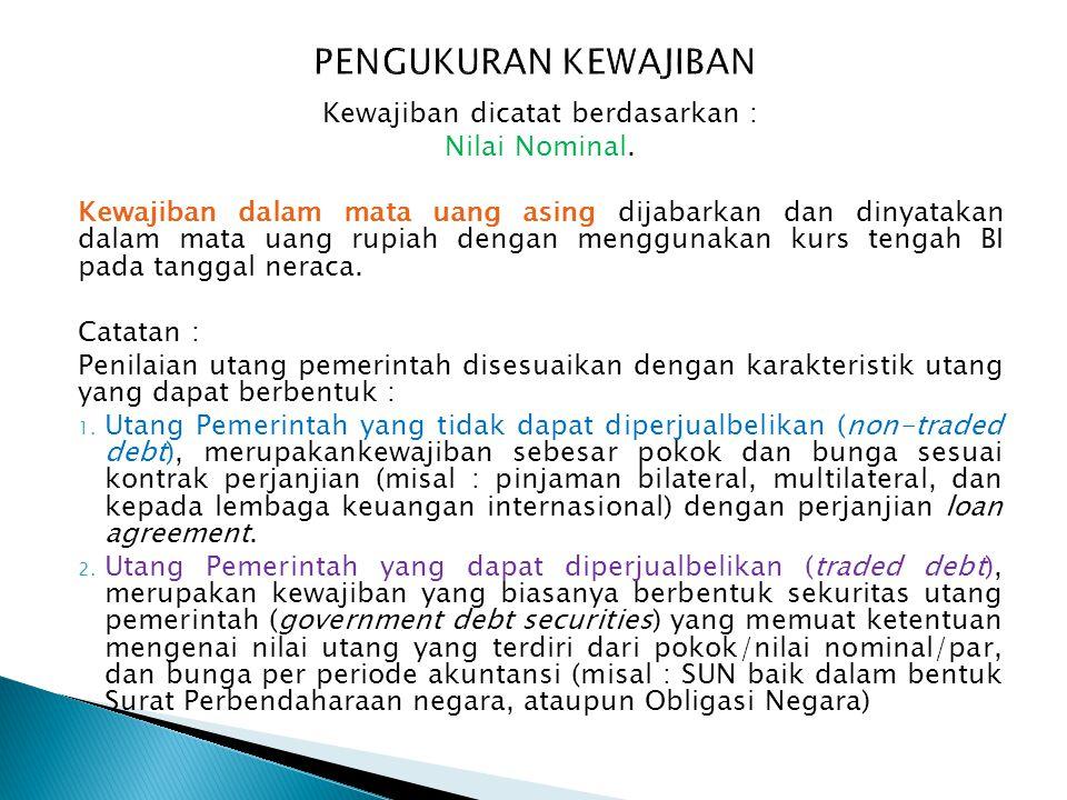Kewajiban dicatat berdasarkan :