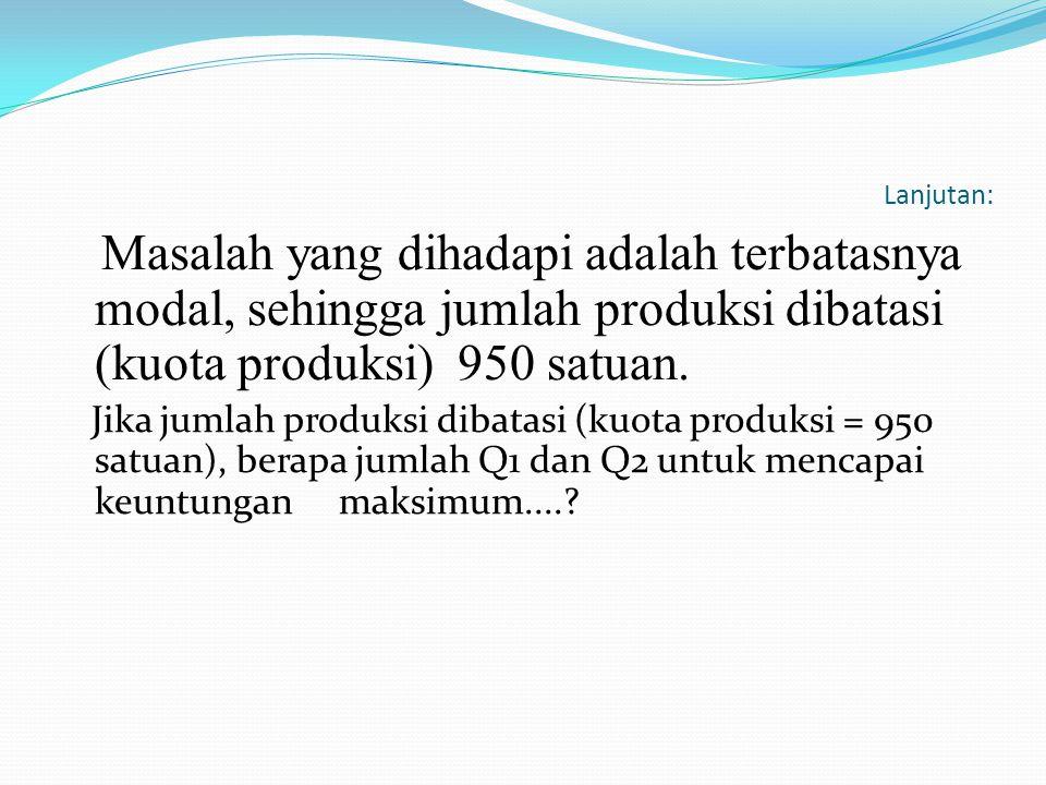 Lanjutan: Masalah yang dihadapi adalah terbatasnya modal, sehingga jumlah produksi dibatasi (kuota produksi) 950 satuan.