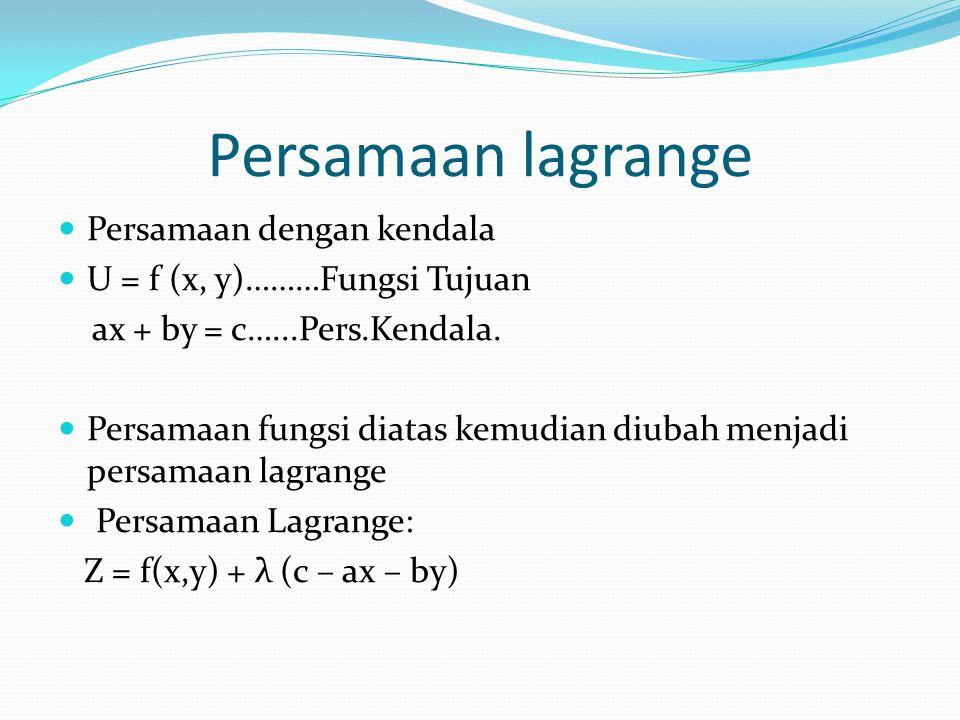 Persamaan lagrange Persamaan dengan kendala