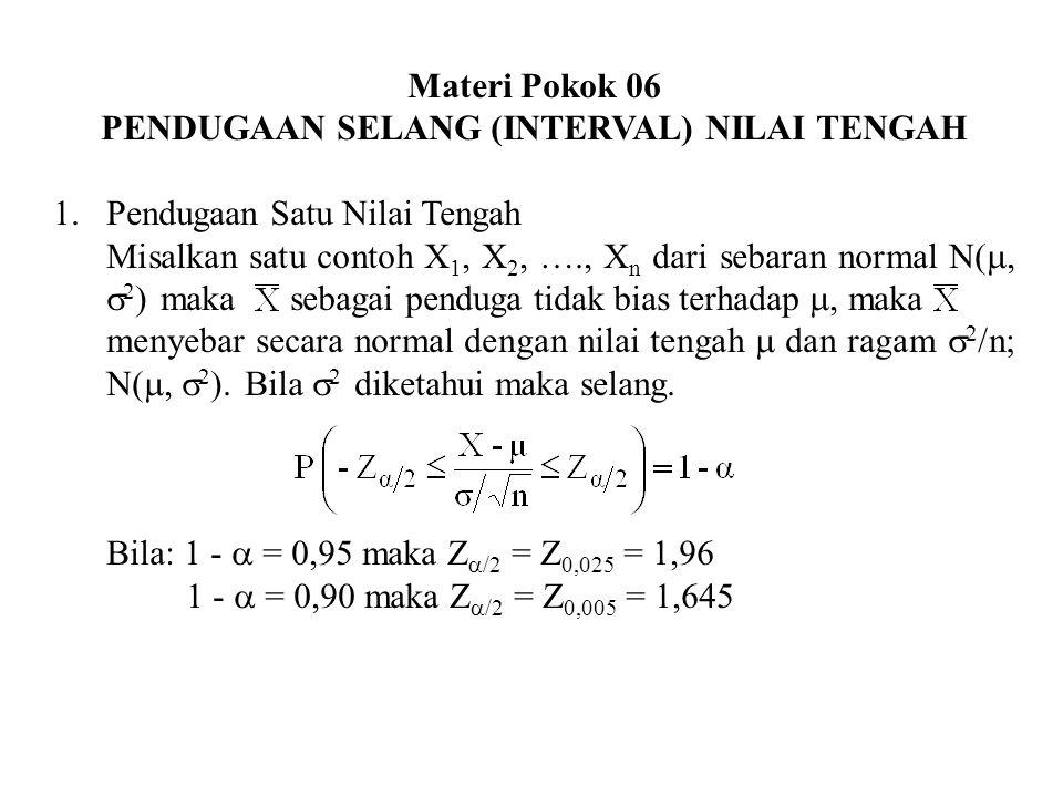 PENDUGAAN SELANG (INTERVAL) NILAI TENGAH