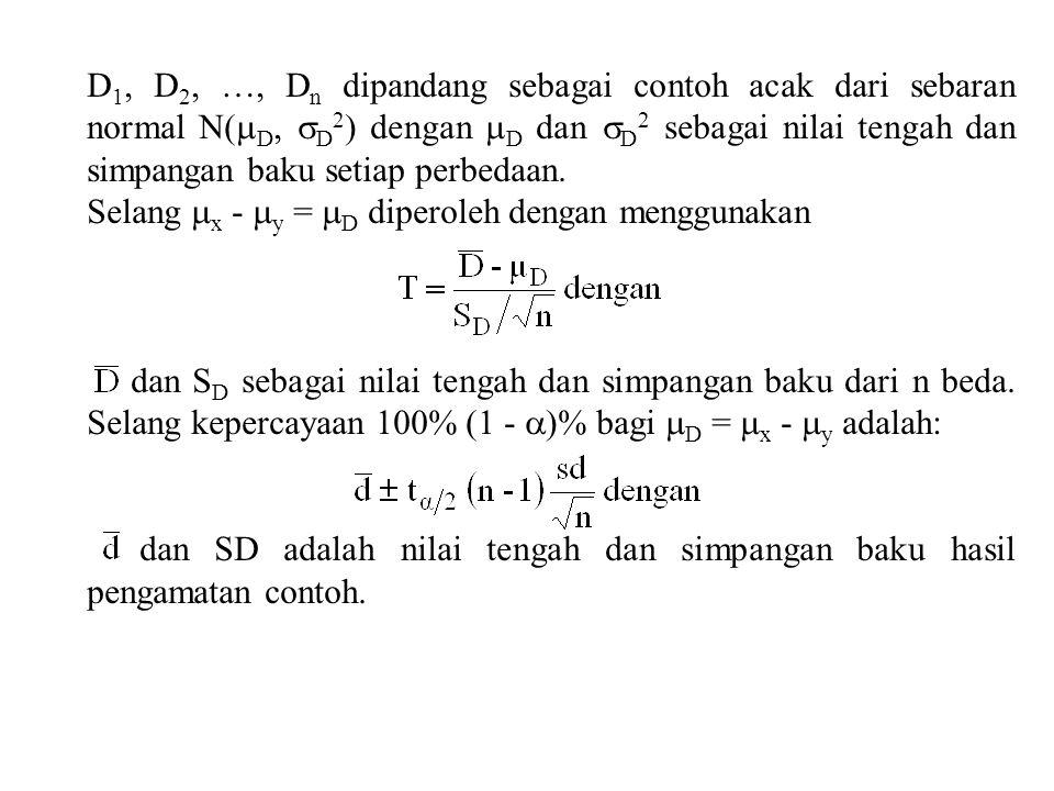 D1, D2, …, Dn dipandang sebagai contoh acak dari sebaran normal N(D, D2) dengan D dan D2 sebagai nilai tengah dan simpangan baku setiap perbedaan.
