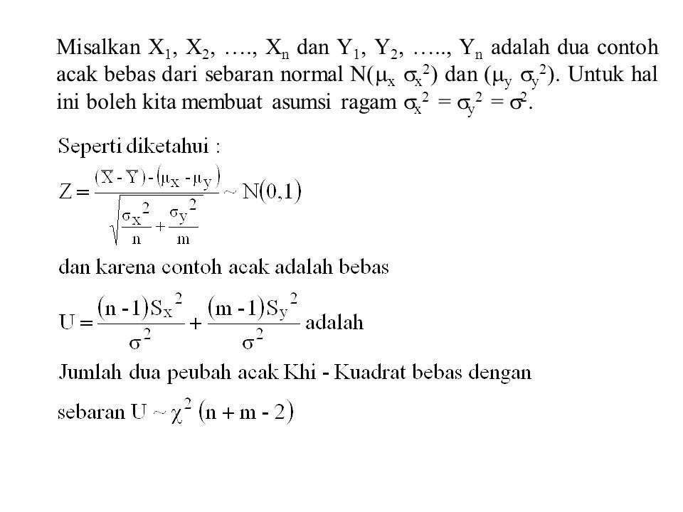 Misalkan X1, X2, …., Xn dan Y1, Y2, ….., Yn adalah dua contoh acak bebas dari sebaran normal N(x x2) dan (y y2).