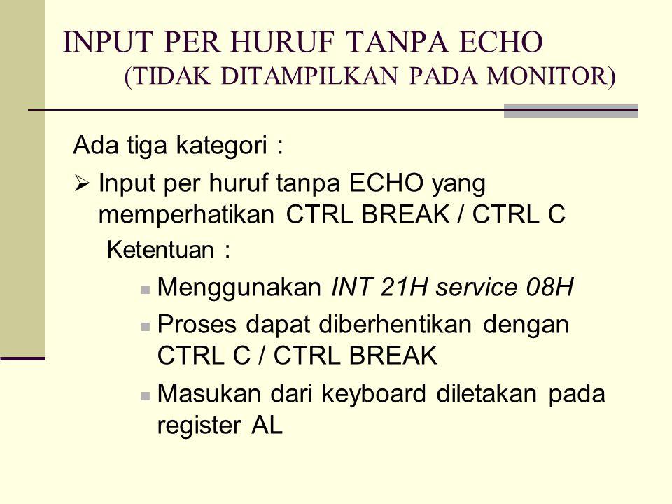 INPUT PER HURUF TANPA ECHO (TIDAK DITAMPILKAN PADA MONITOR)
