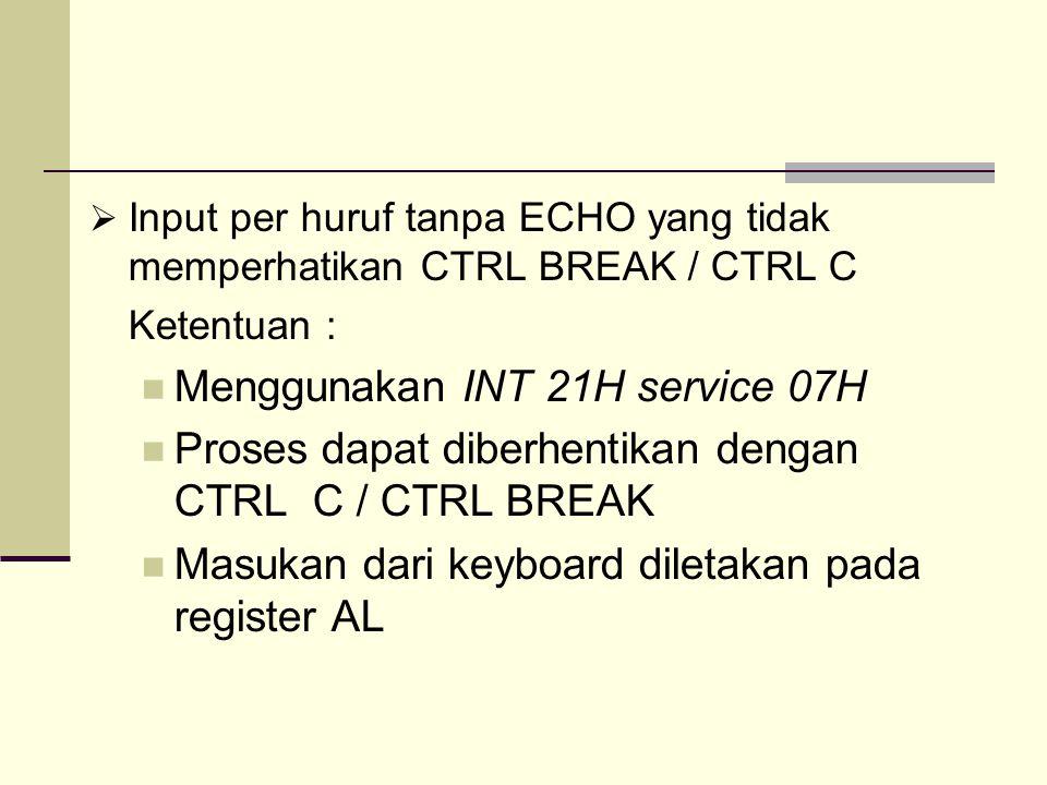 Menggunakan INT 21H service 07H