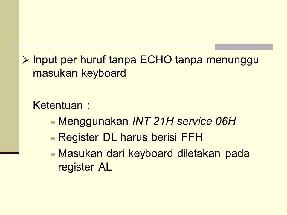 Input per huruf tanpa ECHO tanpa menunggu masukan keyboard