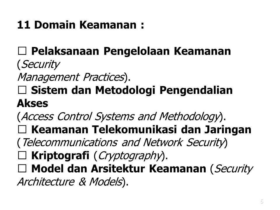 11 Domain Keamanan :  Pelaksanaan Pengelolaan Keamanan (Security. Management Practices).  Sistem dan Metodologi Pengendalian Akses.