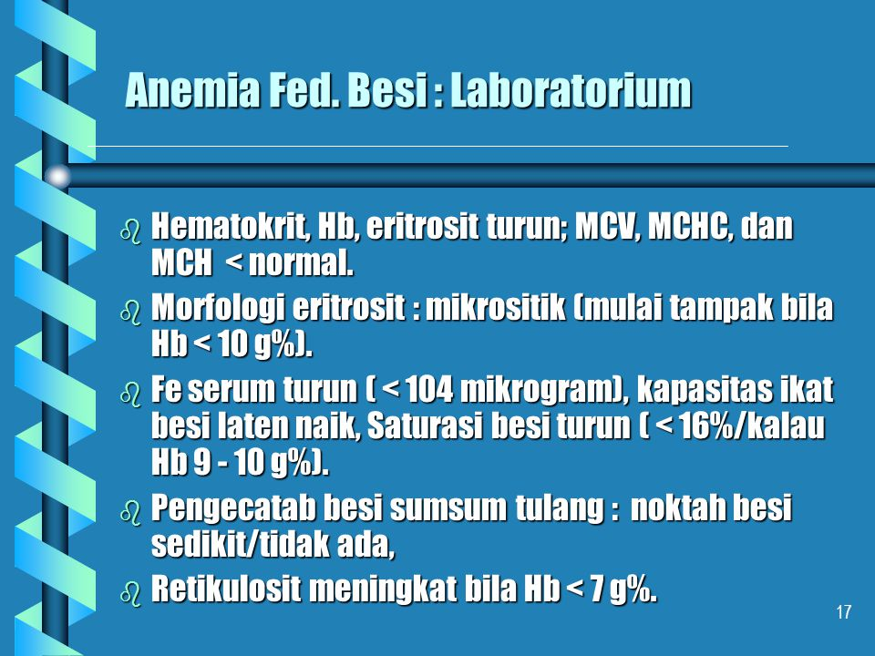 Anemia Fed. Besi : Laboratorium