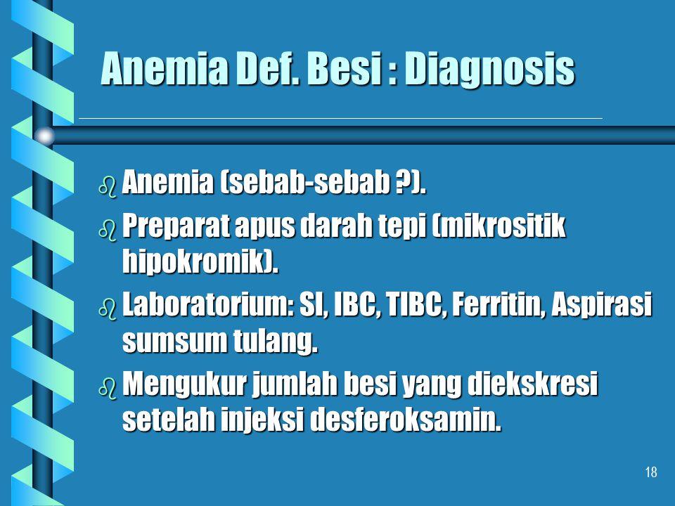 Anemia Def. Besi : Diagnosis