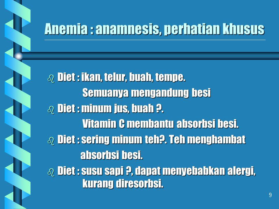 Anemia : anamnesis, perhatian khusus
