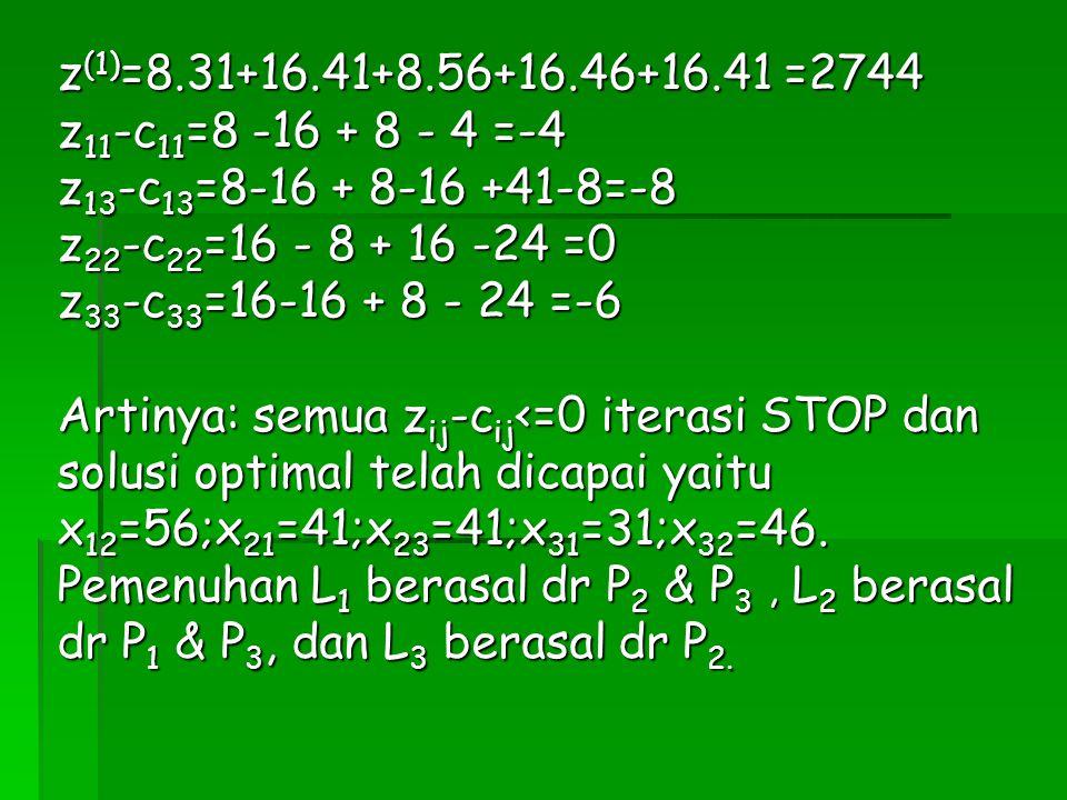 z(1)=8.31+16.41+8.56+16.46+16.41 =2744 z11-c11=8 -16 + 8 - 4 =-4. z13-c13=8-16 + 8-16 +41-8=-8. z22-c22=16 - 8 + 16 -24 =0.