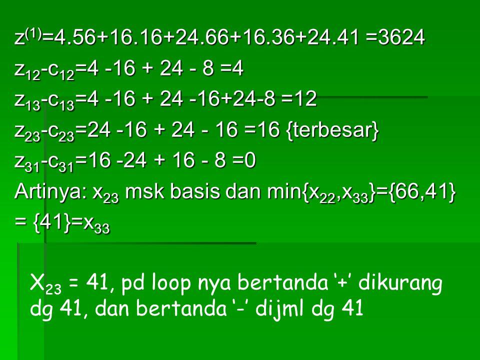 z(1)=4.56+16.16+24.66+16.36+24.41 =3624 z12-c12=4 -16 + 24 - 8 =4. z13-c13=4 -16 + 24 -16+24-8 =12.