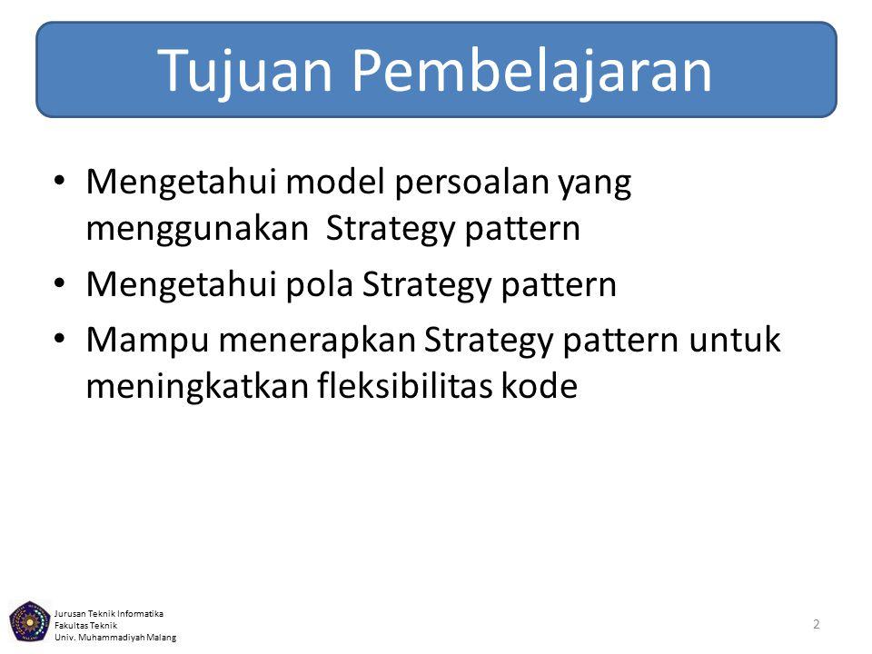 Tujuan Pembelajaran Mengetahui model persoalan yang menggunakan Strategy pattern. Mengetahui pola Strategy pattern.