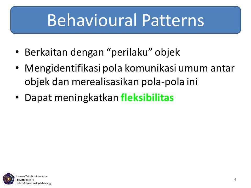 Behavioural Patterns Berkaitan dengan perilaku objek