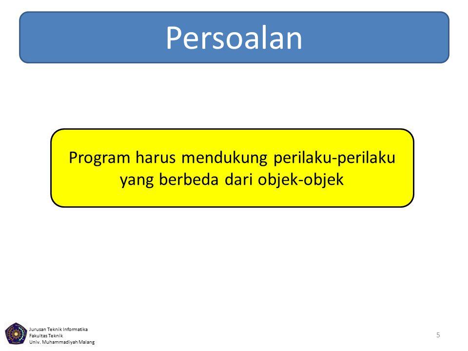 Persoalan Program harus mendukung perilaku-perilaku yang berbeda dari objek-objek
