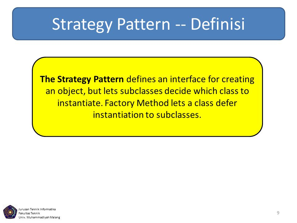 Strategy Pattern -- Definisi