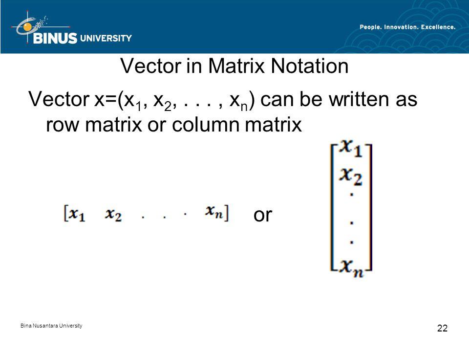 Vector in Matrix Notation