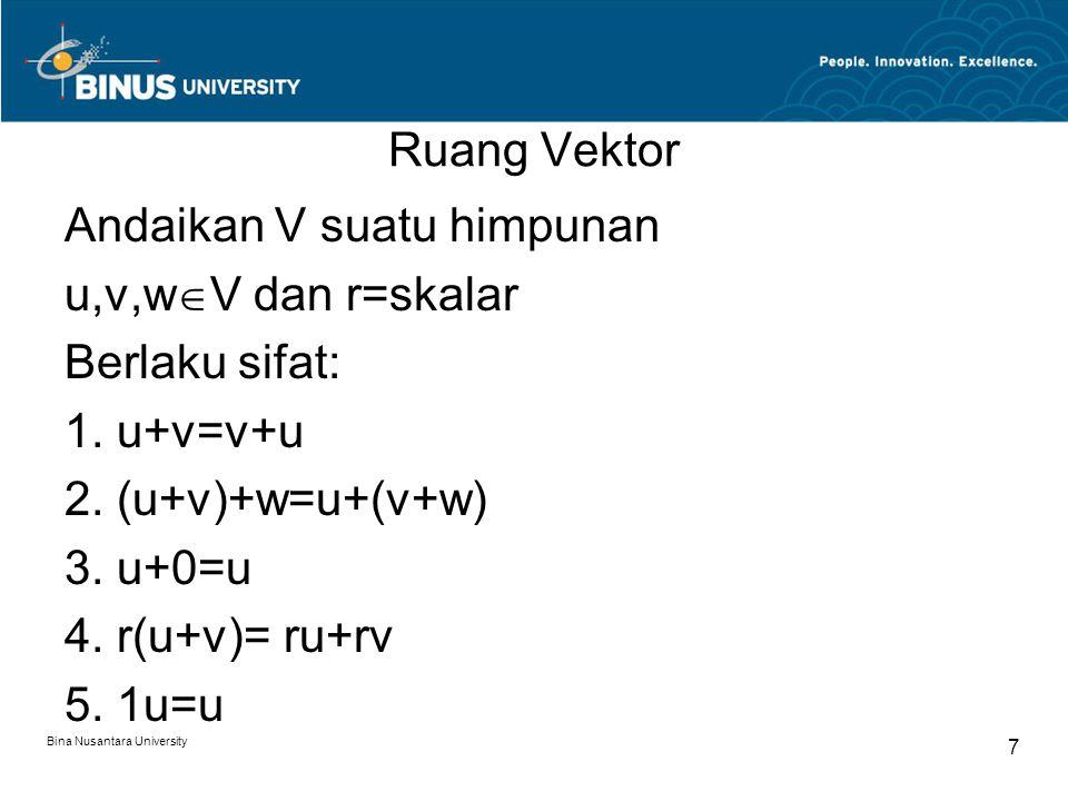 Ruang Vektor Andaikan V suatu himpunan u,v,wV dan r=skalar Berlaku sifat: 1. u+v=v+u 2. (u+v)+w=u+(v+w) 3. u+0=u 4. r(u+v)= ru+rv 5. 1u=u