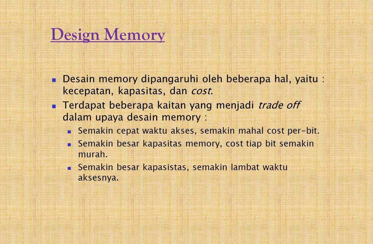 Design Memory Desain memory dipangaruhi oleh beberapa hal, yaitu : kecepatan, kapasitas, dan cost.