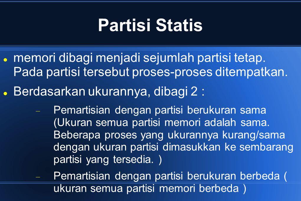 Partisi Statis memori dibagi menjadi sejumlah partisi tetap. Pada partisi tersebut proses-proses ditempatkan.