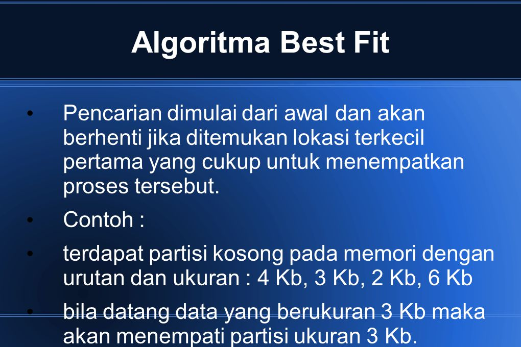 Algoritma Best Fit