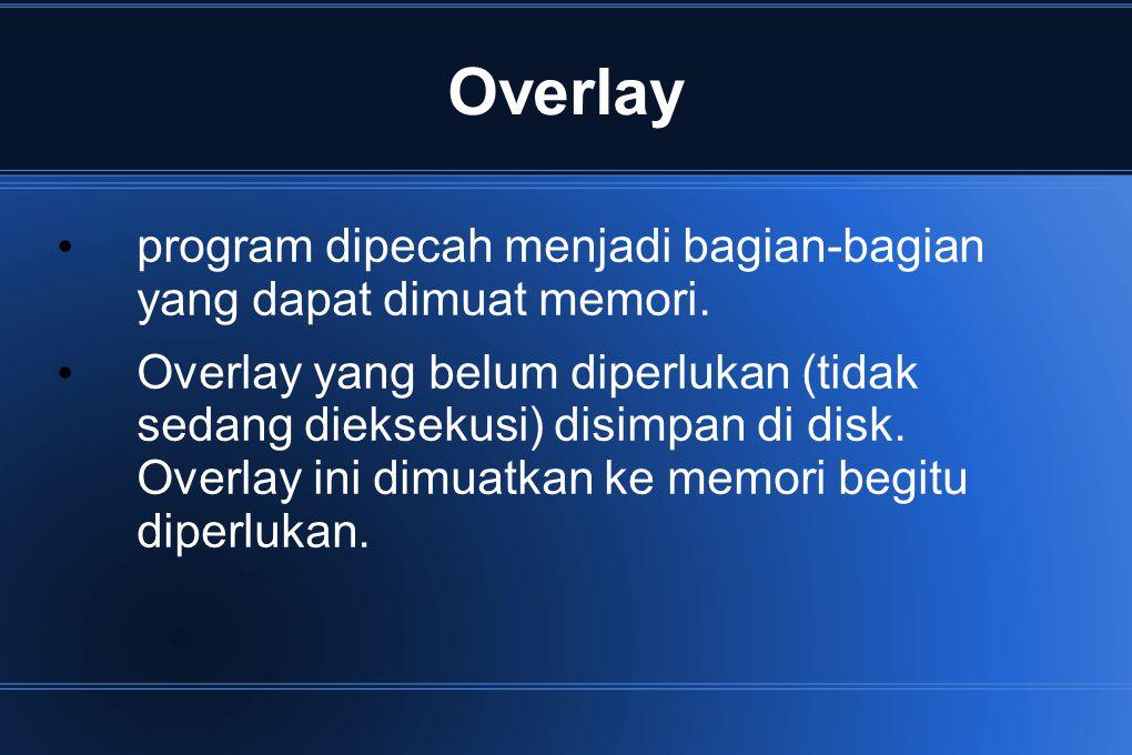 Overlay program dipecah menjadi bagian-bagian yang dapat dimuat memori.